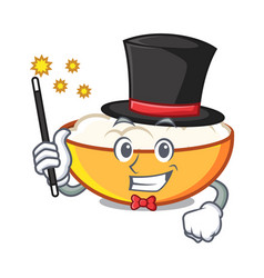 Magician cottage cheese mascot cartoon vector
