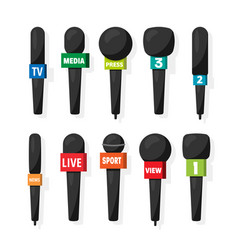 Microphonereporter equipment mass media vector