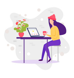 millennials at work young female character eating vector image