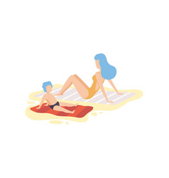 Mother and her son sunbathing on sandy beach vector