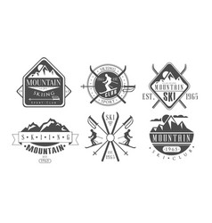 mountain skiing retro logo templates set skiing vector image