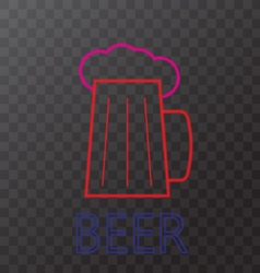 Mug of beer neon lights vector image