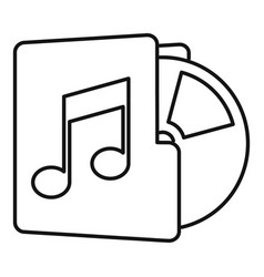 Music folder icon outline style vector