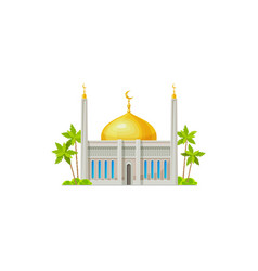 Muslim mosque with crescent moon on dome isolated vector