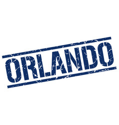 Orlando blue square stamp vector