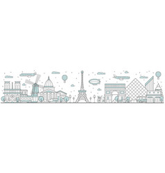 paris skyline line cityscape with building vector image