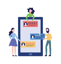 people give review feedback or send rating vector image