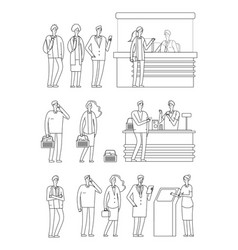 people queues man woman waiting lines isolated vector image