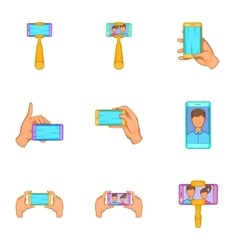 Photo on smartphone icons set cartoon style vector image