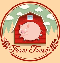 Pig and red barn on logo vector