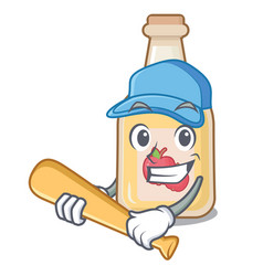 Playing baseball cartoon apple cider in a glass vector