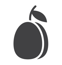 Plum solid icon fruit and diet graphics vector