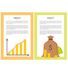 profit banners with growing chart and money bag vector image