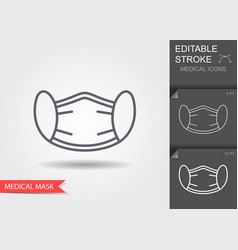 protection face mask line icon with editable vector image