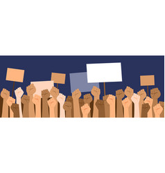 protesters hands holding banners vector image