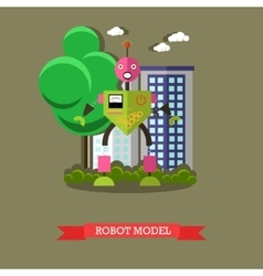 robot model flat design vector image