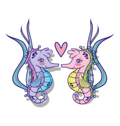 Sea animals cartoons vector