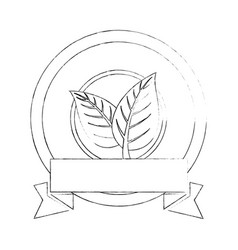 Seal stamp with decorative leaves icon vector