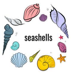Seashells composition beautiful ocean vector