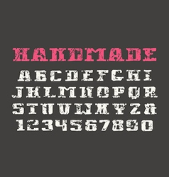 Serif font and numerals in the style of hand drawn vector
