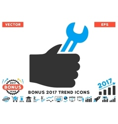 Service Hand Flat Icon With 2017 Bonus Trend vector image