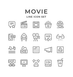 set line icons of movie vector image