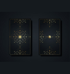 set magical tarot card gold occult sacred geometry vector image