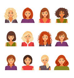 Set of female avatars vector