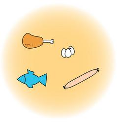 set of food ham sausage eggs fish vector image