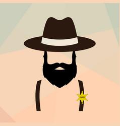 sheriff man portrait policeman retro logo vector image
