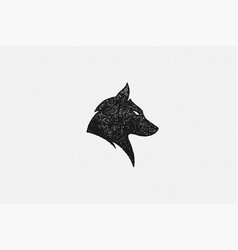 silhouette head wild wolf as symbol wildlife vector image