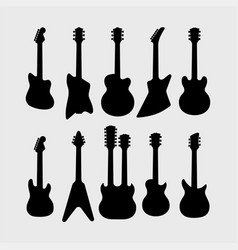 Silhouette of electric guitars vector