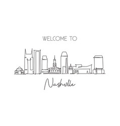 single continuous line drawing nashville city vector image
