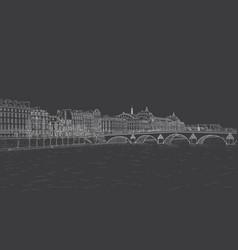 sketch of seine embankment vector image