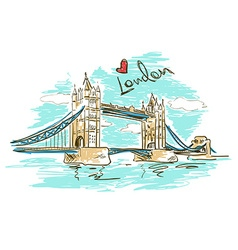 Sketch of Tower Bridge in London vector image