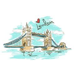 Sketch of tower bridge in london vector
