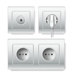 socket electirc outlets and cable power inlets vector image