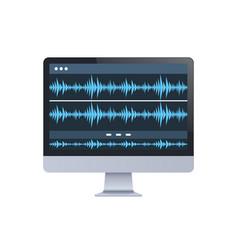Sound monitor audio waves oscillating blue light vector