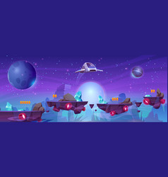 Space game background with platforms and shuttle vector