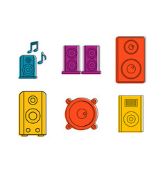 speaker icon set color outline style vector image