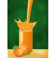 splash of apricot juice on green background vector image
