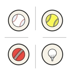 Sport games balls color icons set vector
