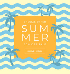 summer sales banner template with blue wave vector image