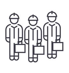 Technician team linear icon sign symbol vector