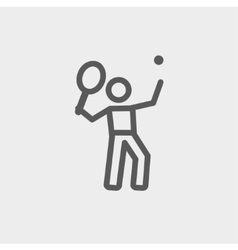 Tennis player in serving position thin line icon vector