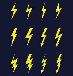 thunder and bolt lighting flash icons vector image