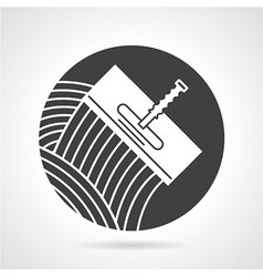 Tile trowel black round icon vector