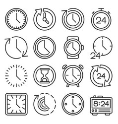 time icons set on white background line style vector image