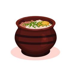 traditional clay ceramic soup pot bulgarian vector image