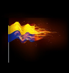 Ukrainian flag in flames the problem of armed vector image